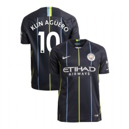 2018/19 Manchester City Soccer Away #10 Sergio Aguero Navy Authentic Jersey