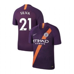 2018/19 Manchester City Soccer Third #21 David Silva Purple Authentic Jersey