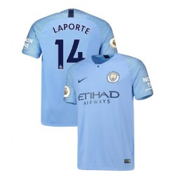 2018/19 Manchester City Soccer Home #14 Aymeric Laporte Light Blue Authentic Jersey