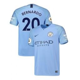 2018/19 Manchester City Soccer Home #20 Bernardo Silva Light Blue Authentic Jersey