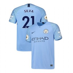 2018/19 Manchester City Soccer Home #21 David Silva Light Blue Authentic Jersey