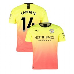 2019/20 Manchester City Soccer #14 Aymeric Laporte Yellow Pink Third Authentic Jersey