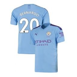 2019/20 Manchester City Soccer #20 Bernardo Silva Light Blue Home Authentic Jersey