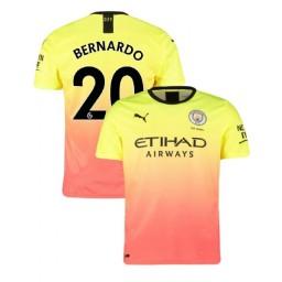 2019/20 Manchester City Soccer #20 Bernardo Silva Yellow Pink Third Authentic Jersey