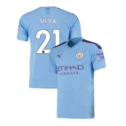 2019/20 Manchester City Soccer #21 David Silva Light Blue Home Authentic Jersey