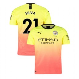 2019/20 Manchester City Soccer #21 David Silva Yellow Pink Third Authentic Jersey