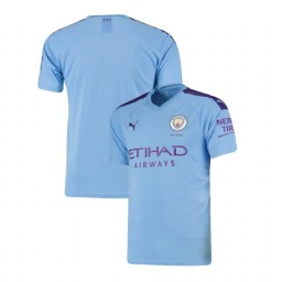 2019/20 Manchester City Soccer Home Light Blue Authentic Jersey