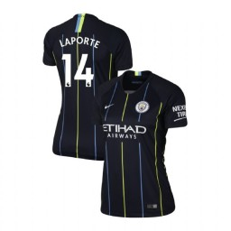 Women's 2018/19 Manchester City Soccer Away #14 Aymeric Laporte Navy Authentic Jersey