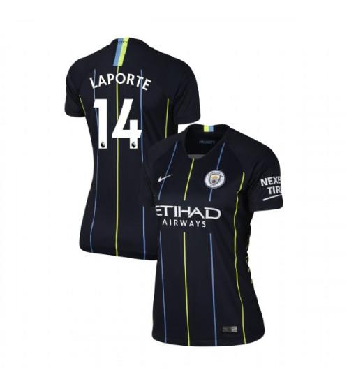 Women's 2018/19 Manchester City Soccer Away #14 Aymeric Laporte Navy Replica Jersey