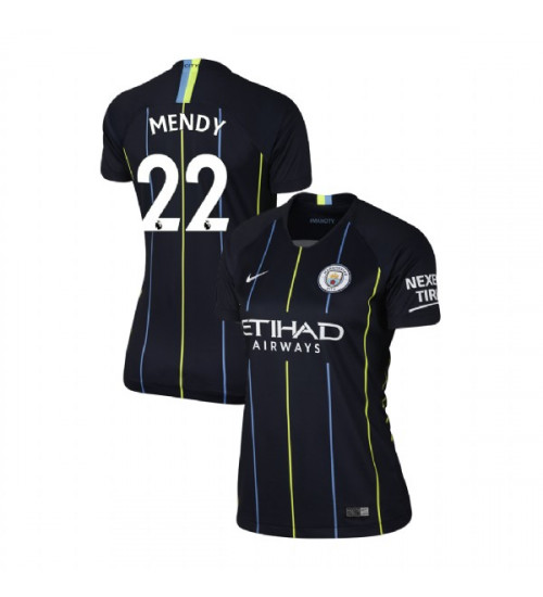 Women's 2018/19 Manchester City Soccer Away #22 Benjamin Mendy Navy Authentic Jersey