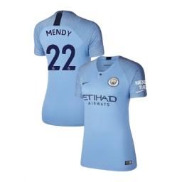 Women's 2018/19 Manchester City Soccer Home #22 Benjamin Mendy Light Blue Authentic Jersey
