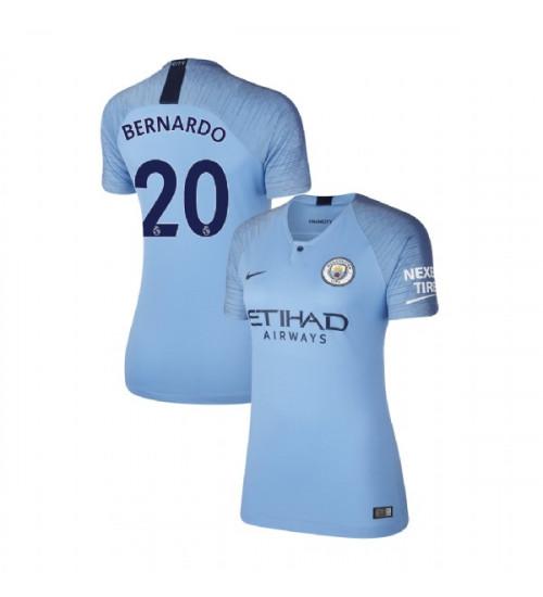 Women's 2018/19 Manchester City Soccer Home #20 Bernardo Silva ...