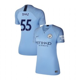 Women's 2018/19 Manchester City Soccer Home #55 Brahim Diaz Light Blue Authentic Jersey