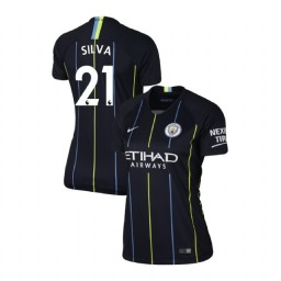 Women's 2018/19 Manchester City Soccer Away #21 David Silva Navy Authentic Jersey