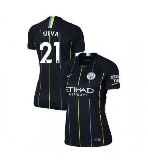 Women's 2018/19 Manchester City Soccer Away #21 David Silva Navy Replica Jersey
