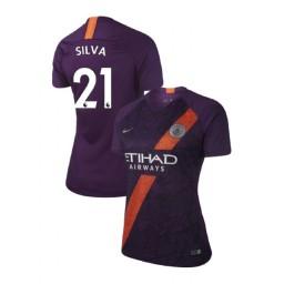 Women's 2018/19 Manchester City Soccer Third #21 David Silva Purple Authentic Jersey