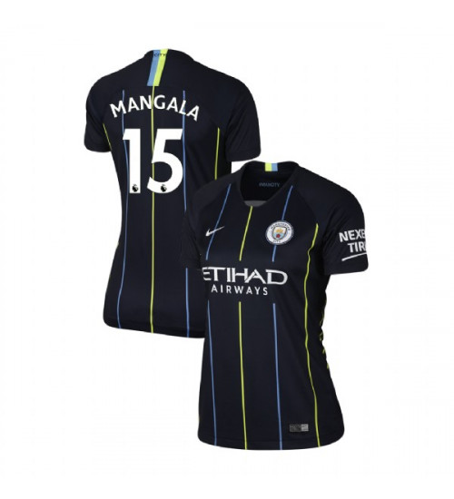 Women's 2018/19 Manchester City Soccer Away #15 Eliaquim Mangala Navy Authentic Jersey
