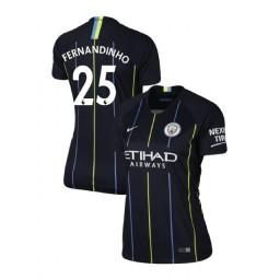 Women's 2018/19 Manchester City Soccer Away #25 Fernandinho Navy Authentic Jersey