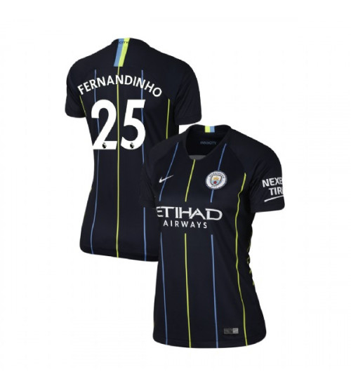 Women's 2018/19 Manchester City Soccer Away #25 Fernandinho Navy Replica Jersey