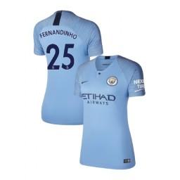 Women's 2018/19 Manchester City Soccer Home #25 Fernandinho Light Blue Authentic Jersey