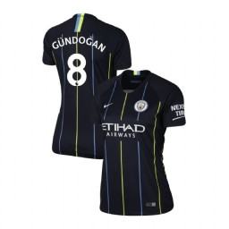 Women's 2018/19 Manchester City Soccer Away #8 Ilkay Gundogan Navy Authentic Jersey