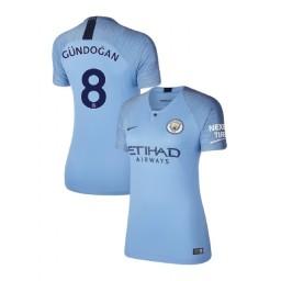 Women's 2018/19 Manchester City Soccer Home #8 Ilkay Gundogan Light Blue Authentic Jersey