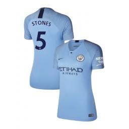 Women's 2018/19 Manchester City Soccer Home #5 John Stones Light Blue Authentic Jersey
