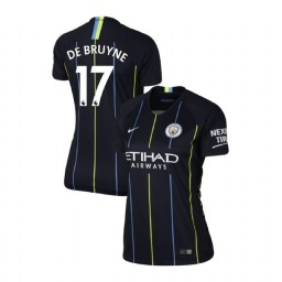 Women's 2018/19 Manchester City Soccer Away #17 Kevin De Bruyne Navy Authentic Jersey