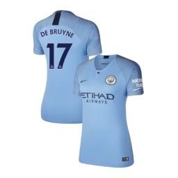 Women's 2018/19 Manchester City Soccer Home #17 Kevin De Bruyne Light Blue Authentic Jersey