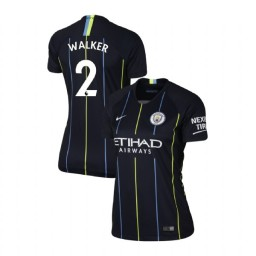 Women's 2018/19 Manchester City Soccer Away #2 Kyle Walker Navy Authentic Jersey