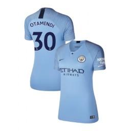 Women's 2018/19 Manchester City Soccer Home #30 Nicolas Otamendi Light Blue Authentic Jersey