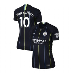 Women's 2018/19 Manchester City Soccer Away #10 Sergio Aguero Navy Authentic Jersey