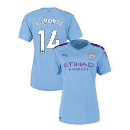 Women's Manchester City Soccer 2019/20 Home #14 Aymeric Laporte Light Blue Authentic Jersey
