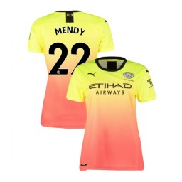 Women's Manchester City Soccer 2019/20 Third #22 Benjamin Mendy Yellow Pink Authentic Jersey