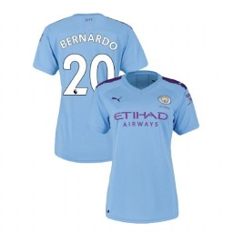 Women's Manchester City Soccer 2019/20 Home #20 Bernardo Silva Light Blue Authentic Jersey