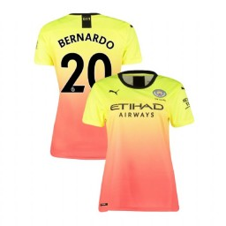 Women's Manchester City Soccer 2019/20 Third #20 Bernardo Silva Yellow Pink Authentic Jersey