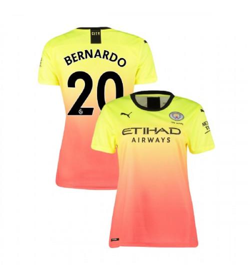 Women's Manchester City Soccer 2019/20 Third #20 Bernardo Silva Yellow Pink Authentic Jersey