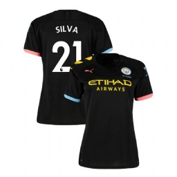 Women's Manchester City Soccer 2019/20 Away #21 David Silva Black Authentic Jersey