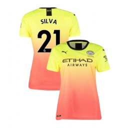 Women's Manchester City Soccer 2019/20 Third #21 David Silva Yellow Pink Authentic Jersey