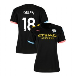 Women's Manchester City Soccer 2019/20 Away #18 Fabian Delph Black Authentic Jersey