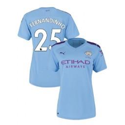 Women's Manchester City Soccer 2019/20 Home #25 Fernandinho Light Blue Authentic Jersey