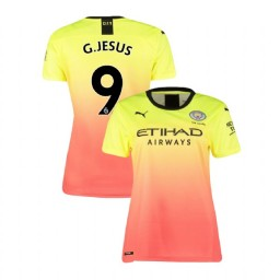 Women's Manchester City Soccer 2019/20 Third #9 Gabriel Jesus Yellow Pink Replica Jersey