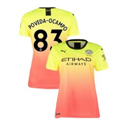 Women's Manchester City Soccer 2019/20 Third #83 Ian Carlo Poveda Yellow Pink Authentic Jersey