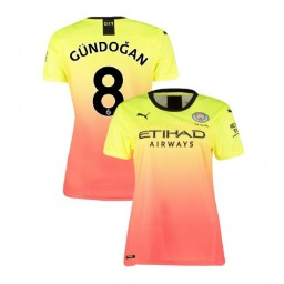 Women's Manchester City Soccer 2019/20 Third #8 Ilkay Gundogan Yellow Pink Replica Jersey