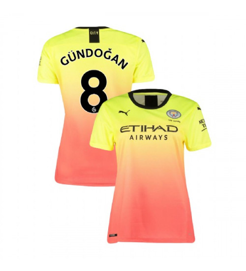 Women's Manchester City Soccer 2019/20 Third #8 Ilkay Gundogan Yellow Pink Authentic Jersey