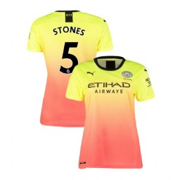 Women's Manchester City Soccer 2019/20 Third #5 John Stones Yellow Pink Authentic Jersey