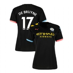 Women's Manchester City Soccer 2019/20 Away #17 Kevin De Bruyne Black Replica Jersey