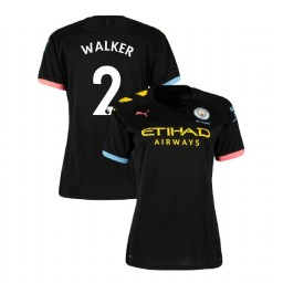 Women's Manchester City Soccer 2019/20 Away #2 Kyle Walker Black Authentic Jersey
