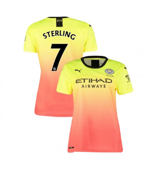 Women's Manchester City Soccer 2019/20 Third #7 Raheem Sterling Yellow Pink Authentic Jersey