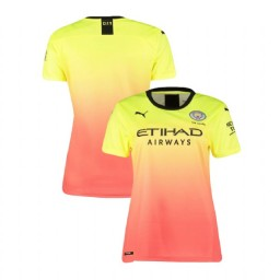Women's 2019/20 Manchester City Soccer Third Yellow Pink Authentic Jersey